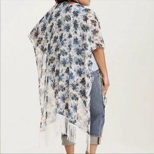 Torrid Floral Print Kimono Fringe Trim Coverup OS
